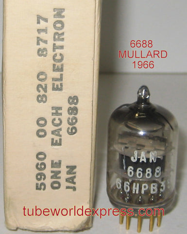 JAN-6688=E180F Mullard branded Philips Holland gold pins 1966 (12.5ma)