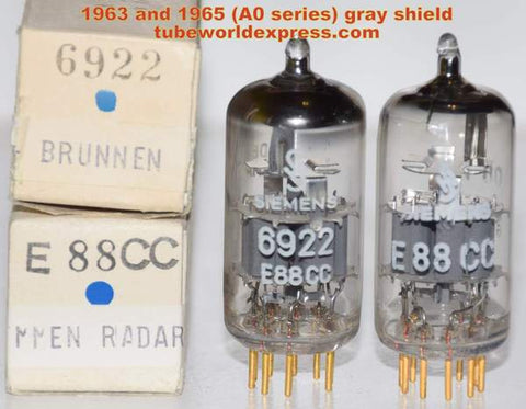 (!!!!) (~ Recommended Siemens Pair - A0 Series ~) 6922=E88CC Siemens Halske Germany gray shield NOS 1963-1965 (Best Overall 6922 Pair)