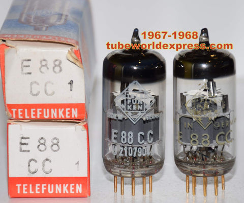 (!!!!!) (Recommended Pair) 6922=E88CC Telefunken Germany <> bottom NOS 1967-1968 (15.8/16.2ma and 16.0/17.2ma)