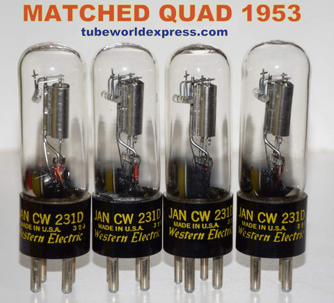 (!!!!!) (BEST MATCHED QUAD) JAN-CW-231D Western Electric NOS 1953 (1.8/1.8/1.8/1.8ma) 1% matched