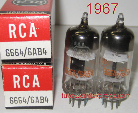 (!) (#1 BEST 6AB4 RCA PAIR) 6AB4 RCA black plate NOS 1967 (11ma and 11ma)