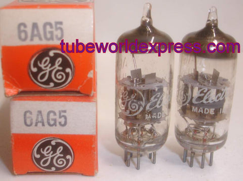 6AG5 GE NOS 1960's same date codes (1 pair: 9.3ma and 9.7ma)