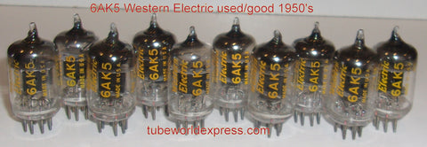 (!!!!) (1 set of 10 tubes) 403A=6AK5 Western Electric used/very good/some test like new D getter halo 1951-1963 (1 set of 10 tubes)