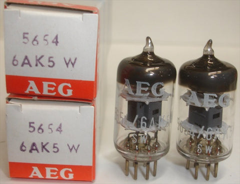 (!!!) (#2 6AK5W Telefunken pair) 6AK5W/5654 Telefunken Germany <> bottom NOS branded AEG (8.0/8.1ma)