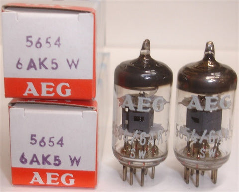 (!!!!) (~ Recommended Pair ~) 6AK5W/5654 Telefunken Germany <> bottom NOS branded AEG (9.4ma/9.5ma) 1-2% matched