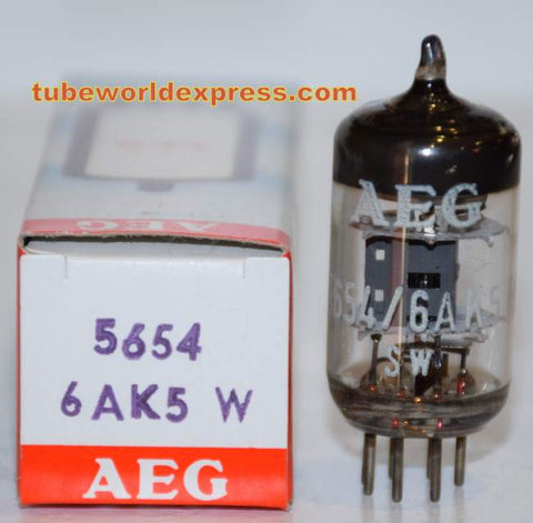 (!!!!) (#1 6AK5 Single) 6AK5W/5654 Telefunken Germany <> bottom NOS branded AEG (9.1ma)