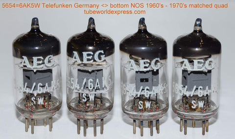 (!!!) (#1 6AK5W Matched Quad) 6AK5W/5654 Telefunken Germany <> bottom NOS branded AEG (8.6/8.6/8.7/8.8ma) (matched on Amplitrex)