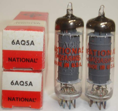 6AQ5A GE NOS rebranded National 1970's (1 pair)