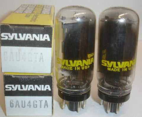 6AU4GTA Sylvania coin-base NOS 1970's (1 pair)