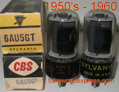 (!) (#1 6AU5GT RCA PAIR) 6AU5GT RCA black plates NOS rebranded same build (64ma and 64.5ma)