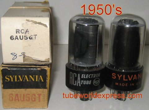 6AU5GT RCA black plates NOS 1950's (1 pair: 54ma and 53ma)