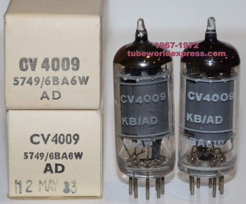 (!) (BEST OVERALL PAIR) CV4009=6BA6W=5749 Brimar NOS 1967-1972 (14.5ma and 16ma)