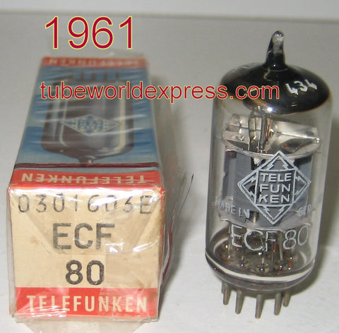 (!!!) (#1 6BL8 Telefunken single) ECF80=6BL8 Telefunken Germany <> bottom NOS 1961 slightly faded top getter (18.8/25ma) (highest Ma and Gm)