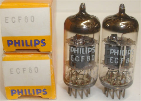 (!!!!) (Recommended Pair) ECF80=6BL8 Mullard rebranded Philips NOS 1966 1-3% matched