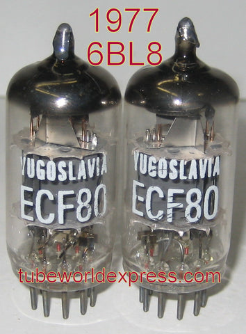 (!) (- Best Value) ECF80=6BL8 EI Yugo NOS 1977 (1 pair) (matched on Amplitrex)