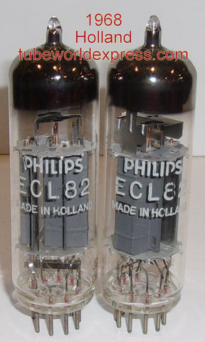 (!!) (#2 6BM8 HOLLAND PAIR) ECL82=6BM8 Philips Holland 1968 NOS