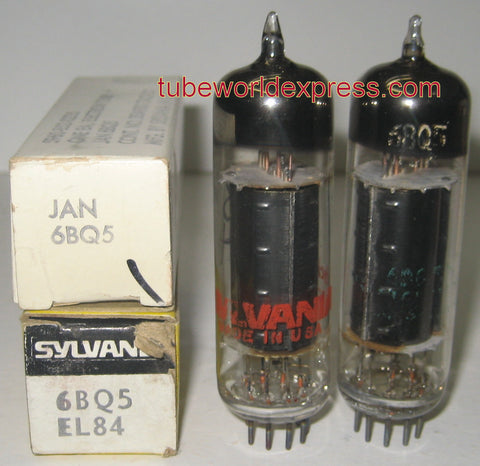 (!) (Recommended Sylvania Pair) 6BQ5 Sylvania black plate 1960's and 1973 (68ma and 62.5ma) (recommended for FIXED-BIAS amp only due to high current)