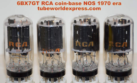 (!!!!) (~ 2nd Best RCA Matched Quad ~) 6BX7GT RCA coin-base NOS 1970's same build (45/51ma, 42/48ma, 44/44ma, 43/46ma)