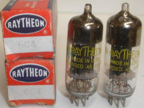 (!) (- 6C4 BEST PAIR) 6C4 Raytheon black plates D getter NOS 1950's (11.6/12.2ma)