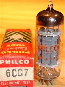 6CG7 Sylvania branded Philco NOS chrome center shield 1960 (7.5ma/8.0ma)