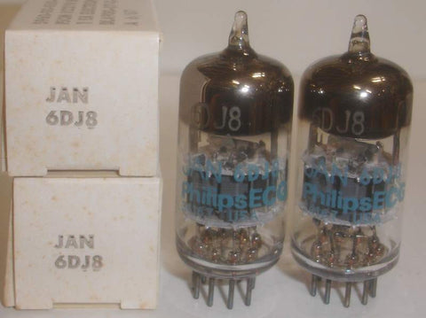 (!!) (#1 6DJ8 - Best Value Pair) 6DJ8 Philips ECG USA by Sylvania NOS 1987 (best 4 section match)