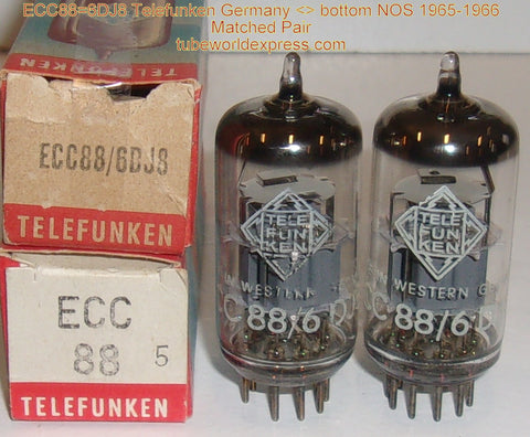(!!!) (#1 6DJ8 - BEST SOUNDING TELEFUNKEN PAIR) 6DJ8 Telefunken <> bottom NOS 1965-1966 (P5)