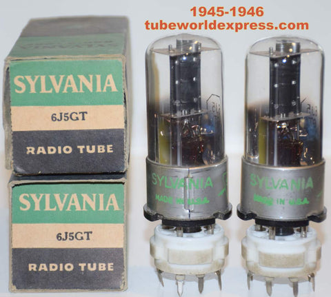(!!!!!) (Recommended Pair) 6J5GT Sylvania lightning logo NOS 1945-1946 (7.2ma/7.4ma)