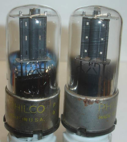 (!!) (~ Good Value Pair ~) 6J5GT Philco by Sylvania round black plate used/very good 1940's (7ma and 8ma)