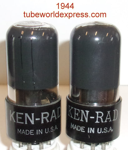 (!!) (#3 6K6GT Pair) 6K6GT Ken Rad coated glass 1944 same date codes in white boxes (44ma and 47.5ma)
