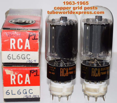 (!!!!!) (~ Recommended Pair 1963-1965 ~) 6L6GC RCA black plate NOS copper grid posts 1963-1965 (78.5ma and 82.5ma) (oldest pair - close Gm matching)