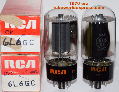 (!!!!!) (Best Pair) 6L6GC RCA black plate NOS 1970 era (70ma and 71.5ma)