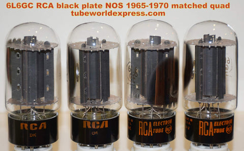 (!!!!!) (Best Matched Quad) 6L6GC RCA black plates NOS 1960's (78.0/78/78.5/80.4ma) (Excellent Quad) (Best in Leben and Fender amps)