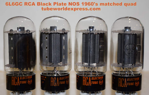 (!!!!!) (#1A 6L6GC RCA black plate quad) 6L6GC RCA black plates NOS 1960's - 3 tubes have same date code (75/75/75/75ma) (Best Electrically Matched Quad) (Best for Leben)