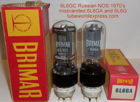 (!!!!) (#1 6L6GC Best Value Pair) 6L6GC Russian NOS 1970's misbranded 6L6GA and 6L6G Brimar (66ma and 66ma)