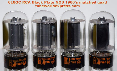 (!!!!!) (~ Recommended RCA Quad ~) 6L6GC RCA black plates NOS mid-1960's (74.0/75.0/76.0/76.2ma) (very nice quad) (Best for Leben)