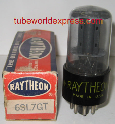 6SL7GT RCA NOS rebranded Raytheon black plates gray coated glass 1955 (2.5/2.6ma)
