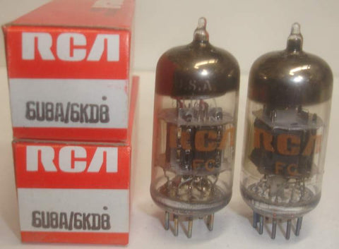 (!) 6U8A RCA NOS; triode section has black plate, pentode section has gray plate 1960's (1 pair)