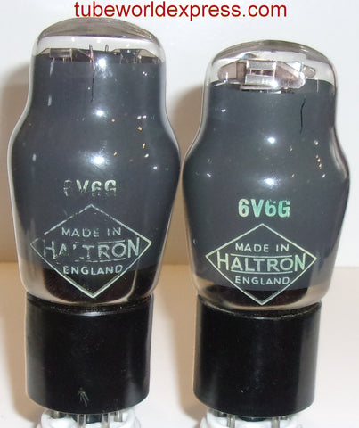 (!!!) (#4 6V6G PAIR) 6V6G Haltron England NOS gray coated glass 1940's - 1950's (39.5ma and 41ma) (matched on Amplitrex)