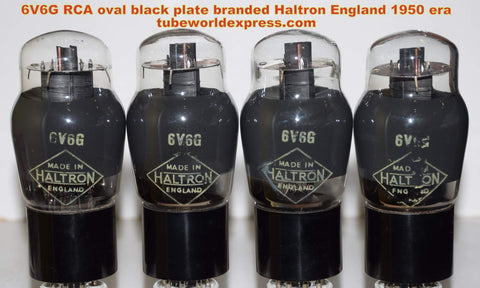(!!!!!) (~ Best RCA 6V6G QUAD ~) 6V6G RCA USA branded Haltron England NOS gray coated glass 1950 era (46.2/47.0/47.5/49ma)