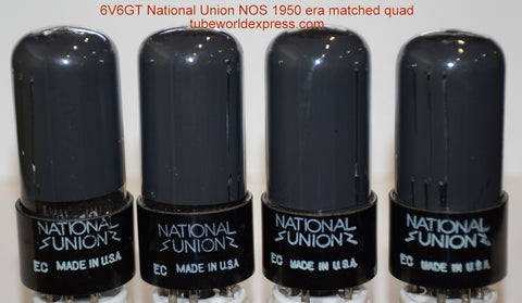 (!!!!!) (~ BEST OVERALL 6V6GT QUAD ~) 6V6GT National Union coated glass NOS 1950 (45.4/45.5/45.5/46ma)