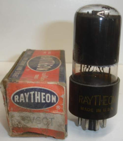 (!!) (~ Recommended Raytheon ~) 6V6GT Raytheon black plate - black coated glass NOS 1940's (46ma)