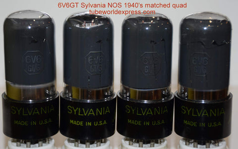 (!!!!!) (#1 6V6GT SYLVANIA QUAD 1940's) 6V6GT Sylvania green leaf coated glass NOS 1940's in white boxes (40/40/40/41.5ma)