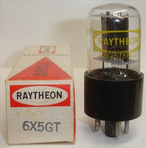 (!!!) (Recommended RCA Single) 6X5GT RCA rebranded Raytheon NOS black base D getter halo 1960's (50/40 and 50/40) 1% diode balance