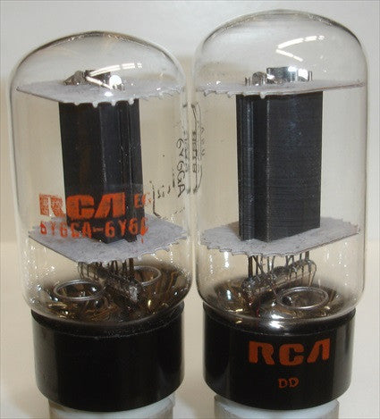 (!) (#1 6Y6GA Pair) 6Y6GA RCA clear top black plate 1970 (68ma and 70.5ma)