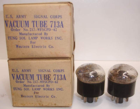 (!!) (Best Value Pair) 713A Western Electric by Tungsol NOS 1942 (6.8ma and 7.1ma) (713A = 717A with black base)