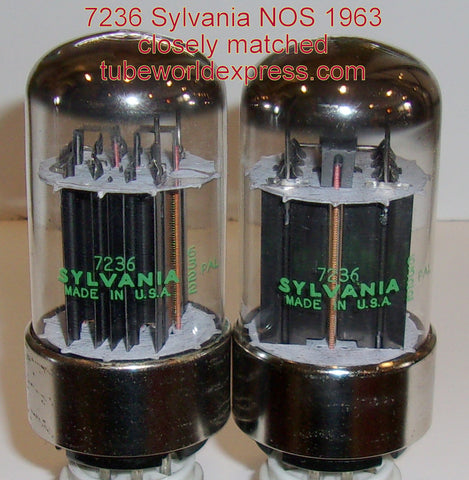 (!!!) (#1 7236 Pair) 7236 Sylvania NOS 1963 (72/79ma and 75/78ma) closely matched