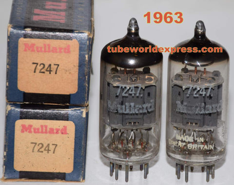 (!!!) (Best Overall Pair) 7247=12DW7 Mullard England NOS 1963 (1.5/11.4ma and 1.5/11.2ma) 1-2% matched
