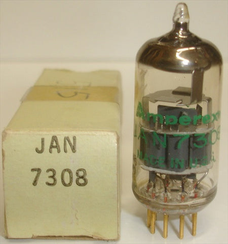 (!) JAN-7308 Amperex USA NOS 1971 (12.6/13.4ma) close triode balance