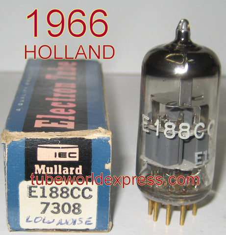 (!) (#3 BEST 7308 SINGLE) E188CC=7308 Holland NOS 1966 rebranded IEC MULLARD (11.6/13ma)