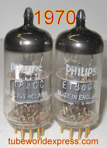(!!) (#1 7308 MULLARD PAIR) E188CC=7308 Philips SQ by Mullard NOS 1970 1-2% matched (matched on Amplitrex)